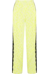 Christopher Kane Lace Trimmed Printed Stretch Crepe Wide Leg Pants