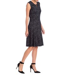 Nic Zoe Tweed Jacquard Faux Leather Trimmed Dress Black