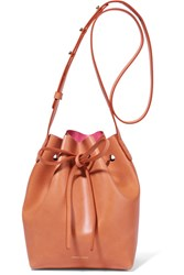 Mansur Gavriel Mini Leather Bucket Bag Camel