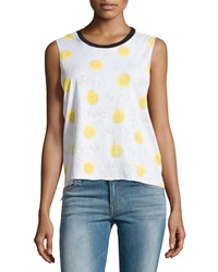 Chaser Daisy Chain Cropped Muscle Tank White Black