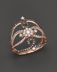 Kc Designs Champagne And White Diamond Ring In 14K Rose Gold Pink Multi