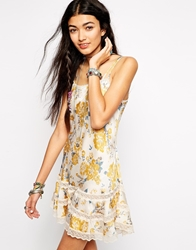 Free People Slip Dress In Floral Print With Ruffle Detail Multi