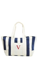 Cathy's Concepts Personalized Stripe Canvas Tote Blue Navy V