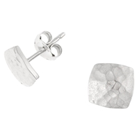 Dower And Hall Silver Nomad Square Stud Earrings