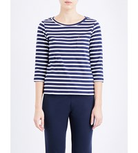 Tommy Hilfiger Nautical Striped Cotton Jersey Top Peacoat
