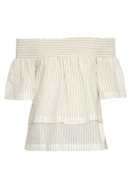 Bliss And Mischief Off The Shoulder Pinstripe Linen Blouse Blue Stripe