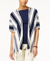 American Living Striped Fringe Poncho Cardigan Sweater