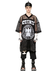 Ktz Oversized Techno Satin And Mesh T Shirt Black White