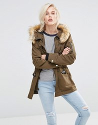 Girls On Film Hooded Parka With Faux Fur Trim Khaki Green
