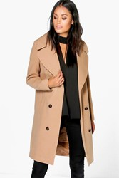 Boohoo Oversized Collar Double Breasted Coat Camel