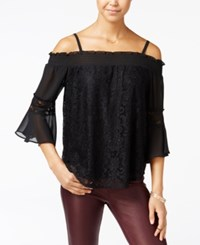 Amy Byer Bcx Juniors' Lace Cold Shoulder Top Black