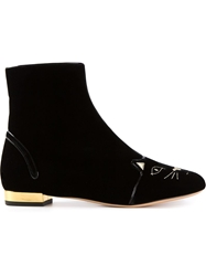Charlotte Olympia Cat Face Boots Black