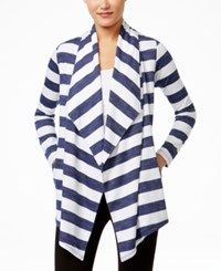 G.H. Bass And Co. Striped Open Front Cardigan White Combo