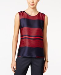 Tommy Hilfiger Striped Woven Shell Navy Red