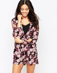 Neon Rose Dream Playsuit With Plunge Neck Purple