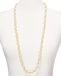 Aqua Petra Long Chain Faux Pearl Necklace 36 Gold White