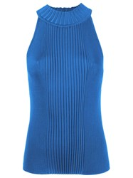 Gig Sleeveless Ribbed Knit Blouse Blue