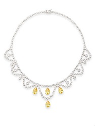 Cz By Kenneth Jay Lane Teardrop And Round Swag Necklace Silver