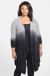 Plus Size Women's Barefoot Dreams Drape Front Cardigan Pewter Midnight Ombre
