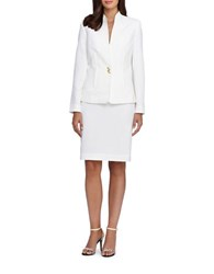Tahari By Arthur S. Levine Petite Two Piece Solid Jacket And Skirt Suit Set Ivory