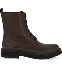 Brunello Cucinelli Studded Grained Leather Boots Bordeaux