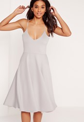 Missguided Scuba Plunge Midi Skater Dress Grey Grey