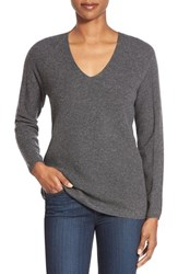 Women's Nordstrom Collection V Neck Cashmere Sweater Grey Stonehenge Heather
