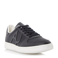 Armani Jeans Perforated Lace Up Casual Trainers Navy