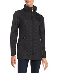 Ellen Tracy Petite Mixed Quilted Barn Coat Black