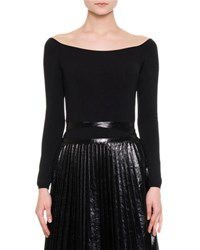 Valentino Knit Off The Shoulder Top Black