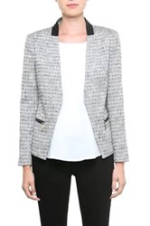 Ivanka Trump Tweed Jacket With Faux Leather Trim Gray