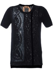 N 21 No21 Lace Front Knit Top Black