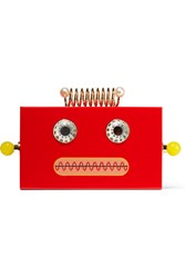 Charlotte Olympia Roby Embellished Perspex Clutch Red