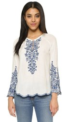 Love Sam Embroidered Top Indigo Ivory