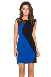 Milly Mesh Colorblock Dress Blue