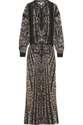 Roberto Cavalli Embroidered Leopard Print Silk Chiffon Maxi Dress