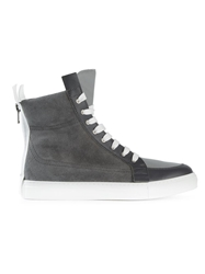 Kris Van Assche High Top Lace Up Sneakers Grey