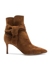 Gianvito Rossi Suede Bow Booties In Brown
