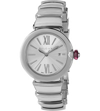 Bulgari Lvcea Stainless Steel And Pink Cabochon Cut Stone Watch