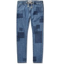 Remi Relief Slim Fit Patchwork Effect Denim Jeans Blue