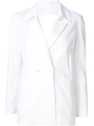 Rosie Assoulin Round Back Cut Out Fitted Jacket White