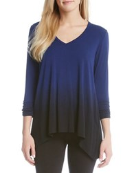 Karen Kane Ruched Sleeve Ombre Dye Tee Blue