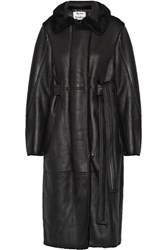Acne Studios Fergus Leather Paneled Shearling Coat Black