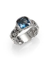 John Hardy Classic Chain Blue Topaz And Sterling Silver Small Braided Ring Blue Silver