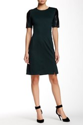 Alexia Admor Faux Leather Sleeve Dress Green