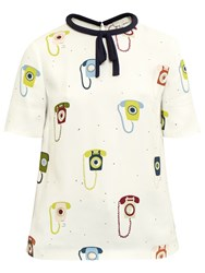 Ted Baker Colour By Numbers Sylvi Telephone Print Tie Neck Top Ivory