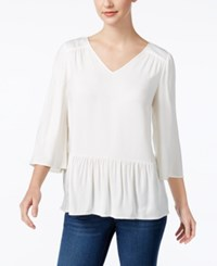 G.H. Bass And Co. V Neck Peplum Top French Vanilla