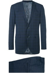 Etro Checked Formal Suit Blue