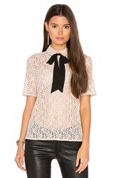 The Kooples Lace Tie Neck Top Blush