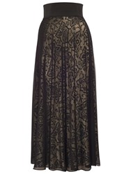 Chesca Devore Mesh Maxi Skirt Black Gold